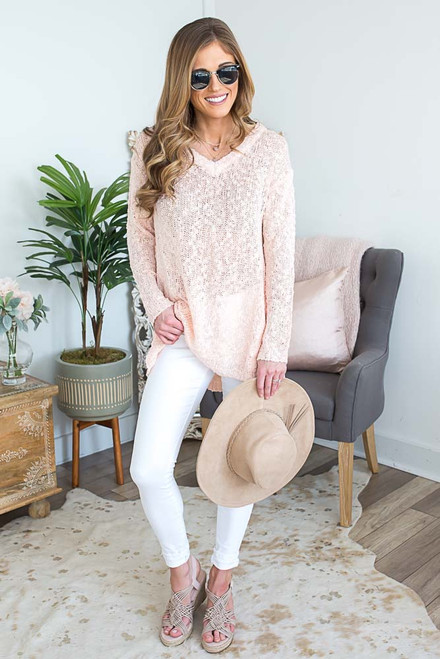 Lightweight High Low Sweater - Light Pink - FINAL SALE