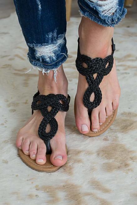 Boardwalk Braided Sandals - Black - FINAL SALE