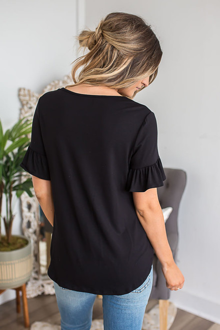 Ruffle Sleeve Tie Knot Top - Black
