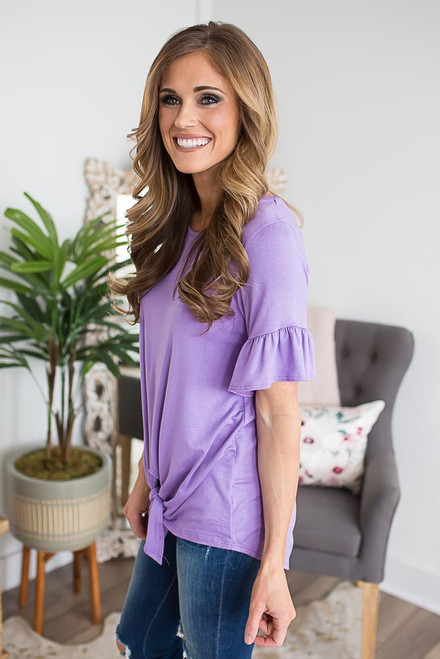 Ruffle Sleeve Tie Knot Top - Lilac Breeze
