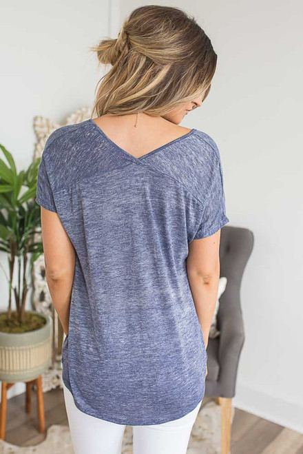 Short Sleeve Twisted Hem Tee - Heather Navy