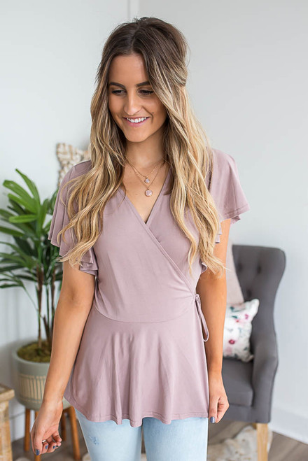 Short Sleeve Peplum Wrap Top - Dusty Rose - FINAL SALE