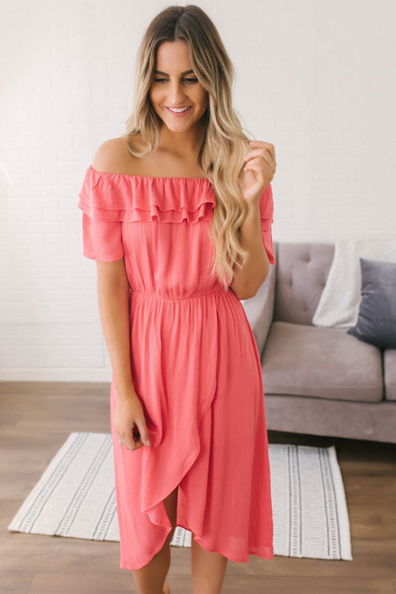 Everly Off the Shoulder Tulip Midi Dress - Coral  - FINAL SALE