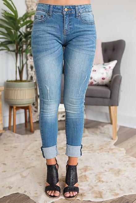 Sandbar Semi Distressed Skinny Jeans - Medium Wash