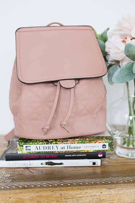 Faux Leather Quilted Backpack - Rose