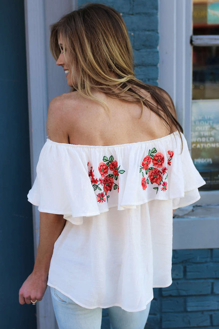 Off the Shoulder Embroidered Top - Off White