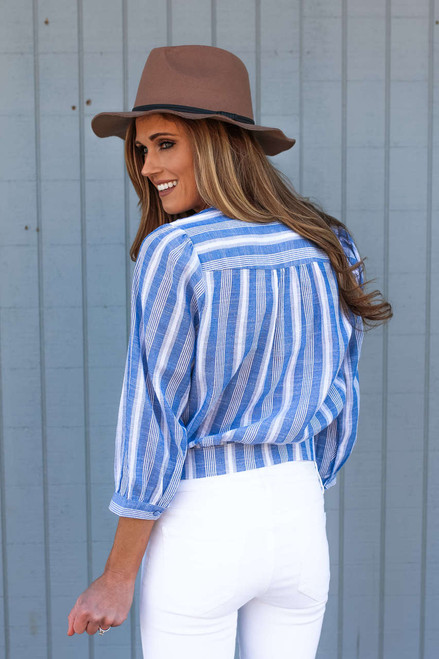 Everly Striped Surplice Wrap  Tie Top - Blue/White - FINAL SALE