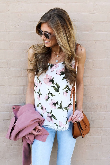 Floral Crochet Layered Back Tank - Ivory