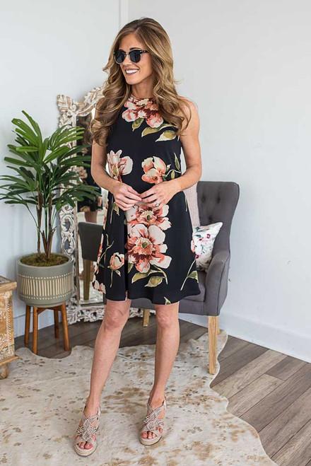 Floral Print Halter Dress - Black