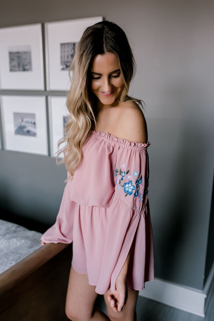 Off the Shoulder Embroidered Romper - Dusty Rose  - FINAL SALE