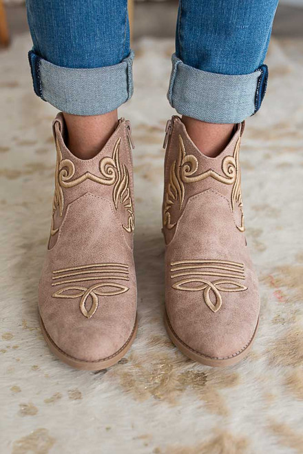 Distressed Cowboy Embroidered Booties - Taupe