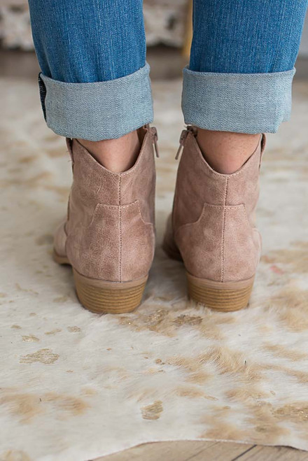 Distressed Cowboy Embroidered Booties - Taupe  - FINAL SALE