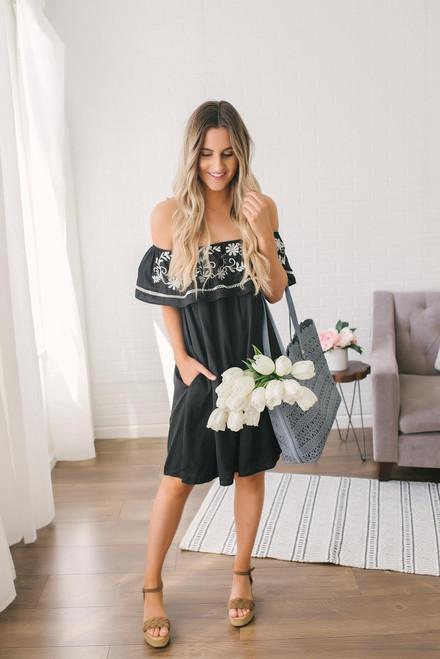 Off the Shoulder Embroidered Dress - Black  - FINAL SALE