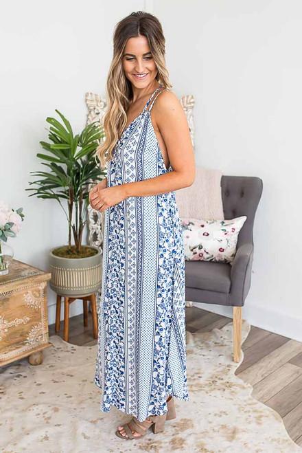 Mediterranean Escape Maxi Dress - Blue/White