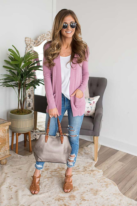 Down By the Bay Knit Cardigan - Dusty Orchid  - FINAL SALE