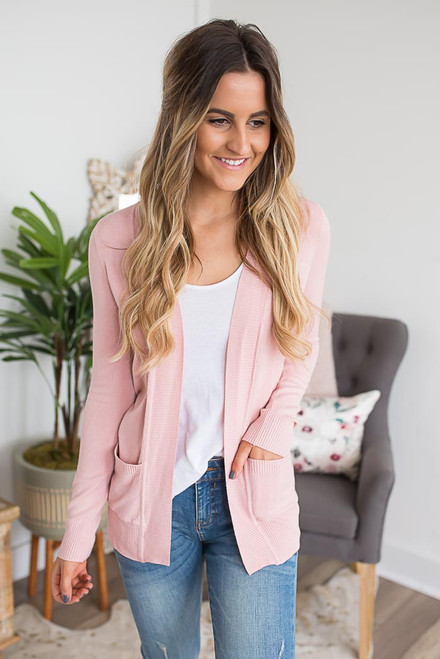Down By the Bay Knit Cardigan - Light Pink  - FINAL SALE