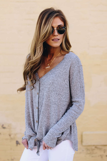 Thermal Button Down Knot Top - Heather Grey