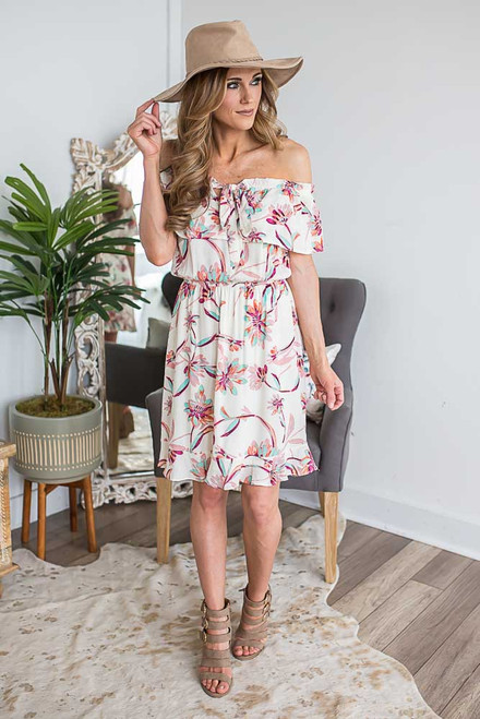 Off the Shoulder Floral Dress - Ivory Multi