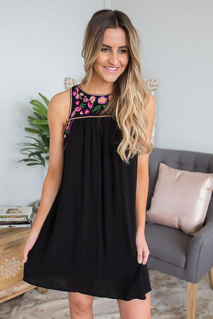 Floral Embroidered Keyhole Back Dress - Black