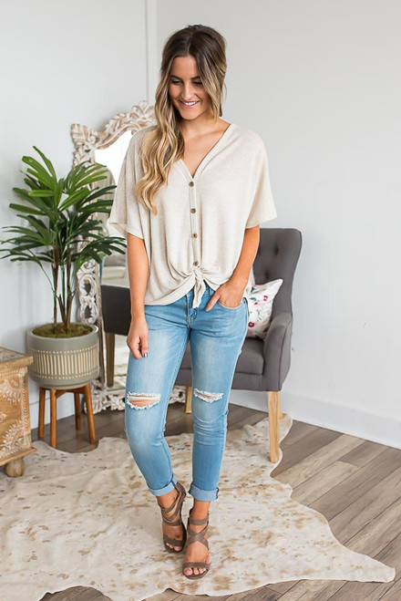 Short Sleeve Thermal Knot Top - Oatmeal