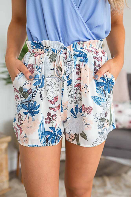 Spring Fever Floral Shorts - Off White Multi