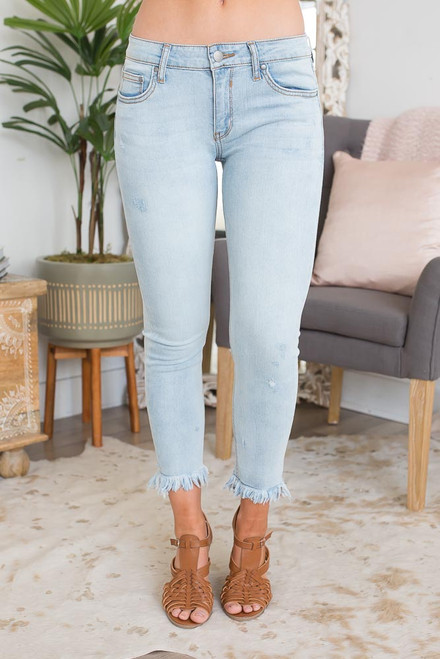 North Shore Frayed Ankle Jeans - Light Wash