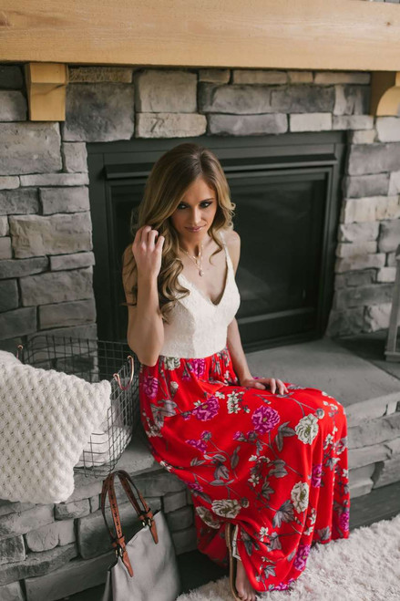 Contrast Lace Floral Maxi - Ivory/Red