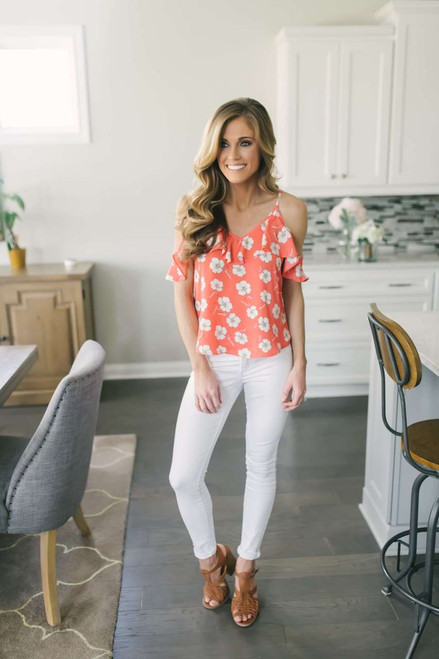 Cold Shoulder Ruffle Floral Top - Coral
