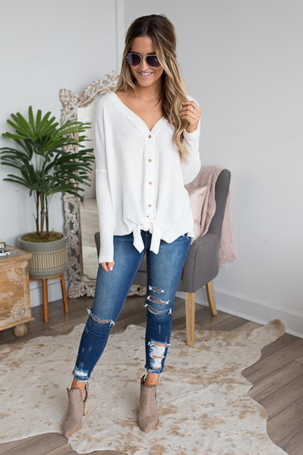 Thermal Button Down Knot Top - Ivory