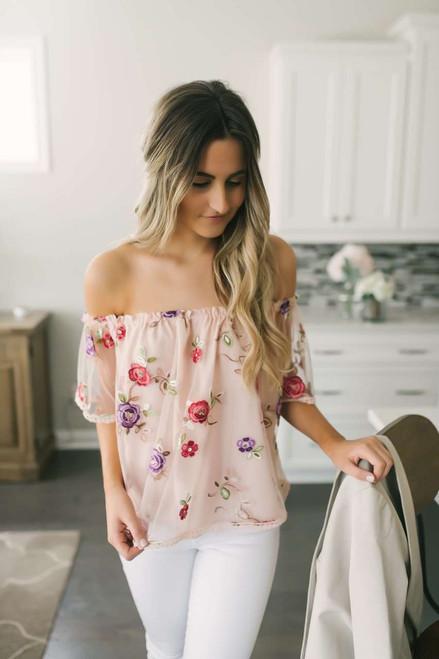 BB Dakota Stassi Off the Shoulder Top - Pink Lemonade