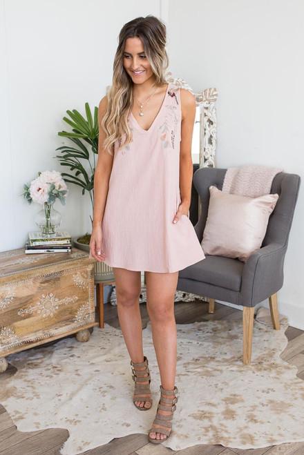 V-Neck Embroidered Dress - Blush