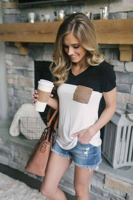 Short Sleeve Colorblock Pocket Top - Black/White