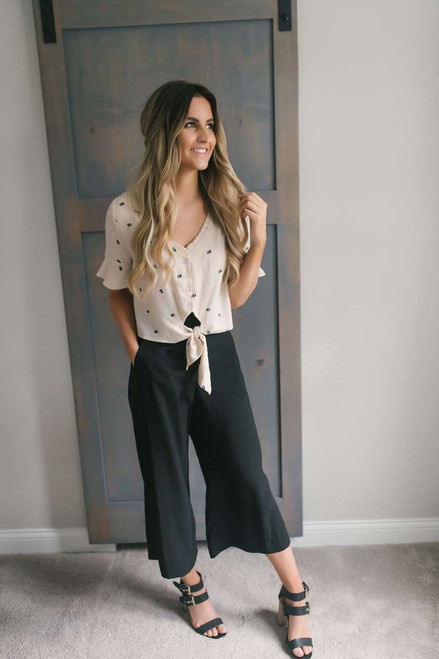 Abbey Road Printed Tie Top - Light Taupe
