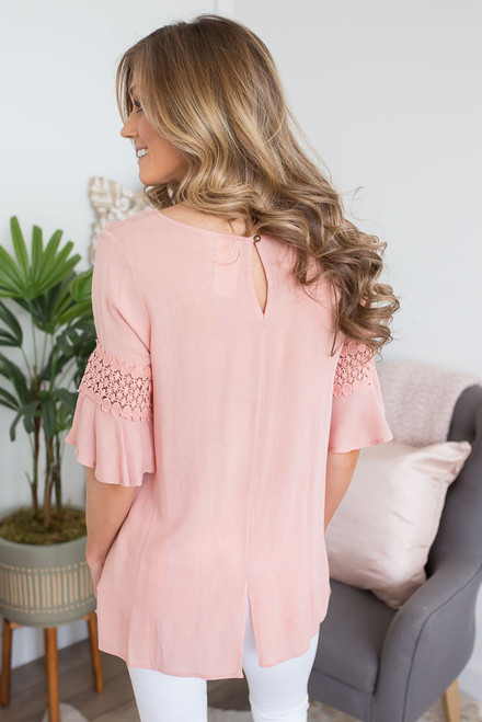 Little Moments Crochet Detail Top - Apricot Blush