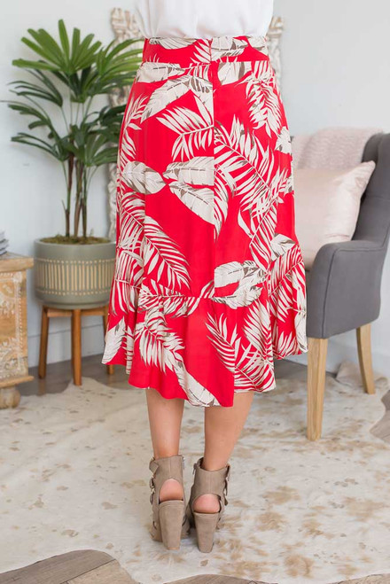 Tropical Asymmetrical Ruffle Skirt - Red/Taupe