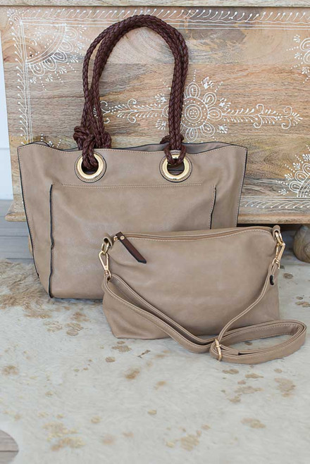 Seaside Retreat Distressed Handbag - Tan