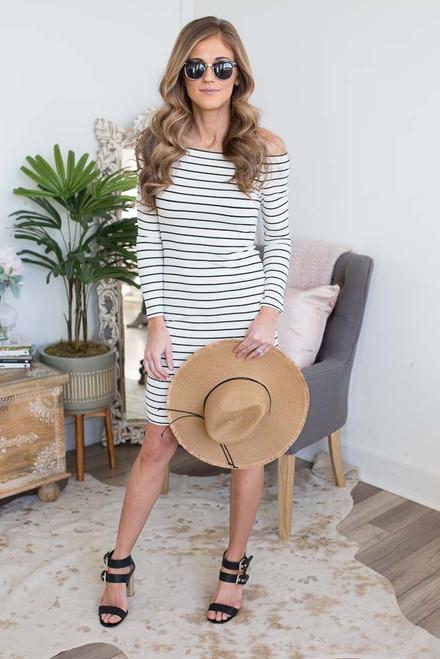 BB Dakota Bridget Striped Dress - Ivory/Black - FINAL SALE