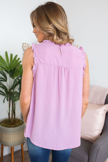 Love Letters Sleeveless Blouse - Lilac - FINAL SALE