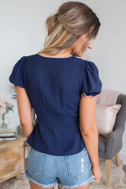 Floral Embroidered Wrap Top - Navy