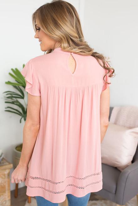 Crochet Detail Cap Sleeve Tunic - Blush Peach  - FINAL SALE