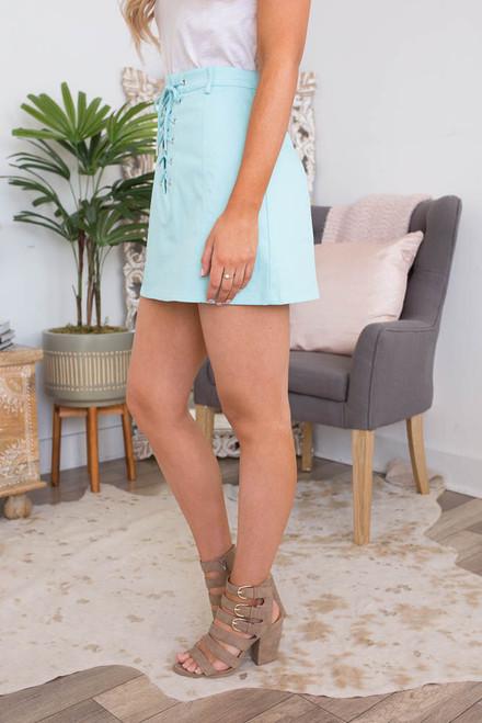 Palm Beach Lace Up Skirt - Aqua  - FINAL SALE