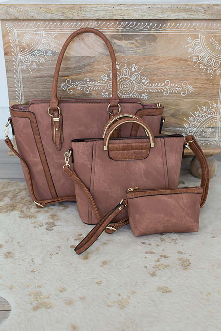 Sawyer Distressed 3 in 1 Handbag - Brown