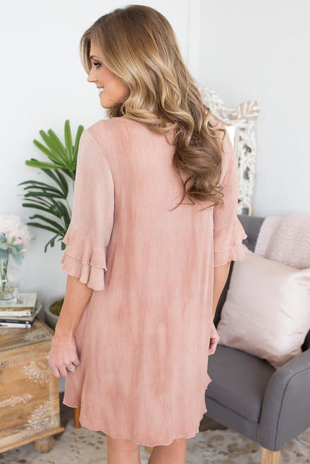Crochet Lace Up Ruffle Dress - Dusty Rose