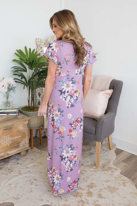 Short Sleeve Empire Floral Maxi - Lilac Multi  - FINAL SALE