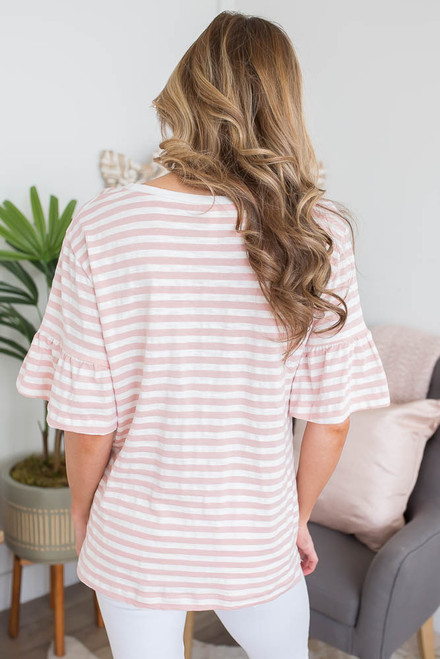 Ruffle Sleeve Striped Top - Pink/Off White  - FINAL SALE