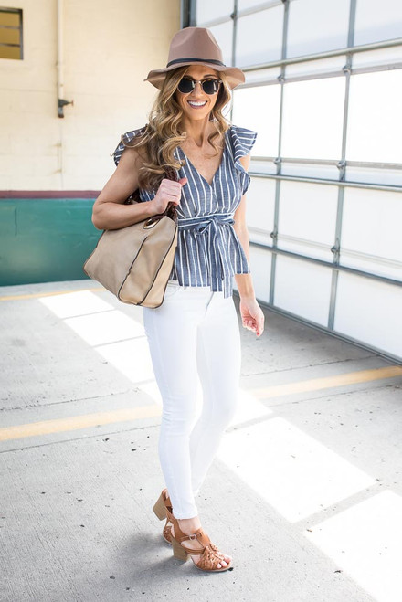 Striped Ruffle Tie Back Top - Navy/White