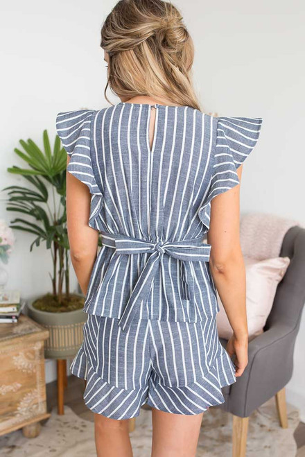 Striped Ruffle Tie Back Top - Navy/White - FINAL SALE