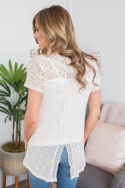 Crochet Detail Split Back Top - Ivory