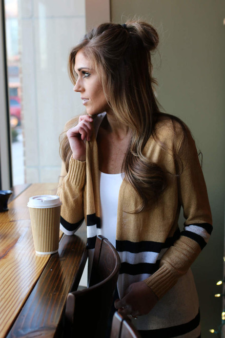 Ivy League Colorblock Cardigan - Tan/White/Black