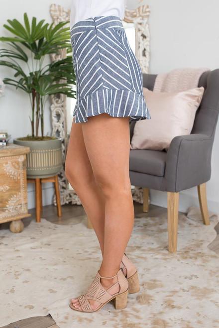 Striped Ruffle Shorts - Navy/White